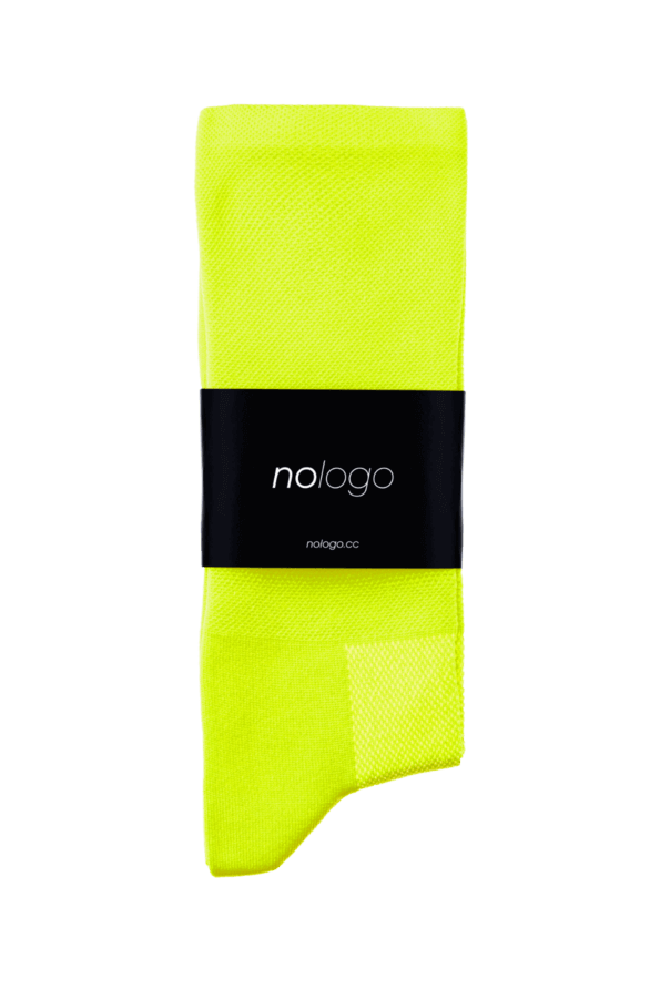 nologo fluo yellow cycling socks